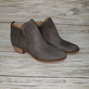 Lucky Brand Gray Leather Laser Cut Ankle Boots